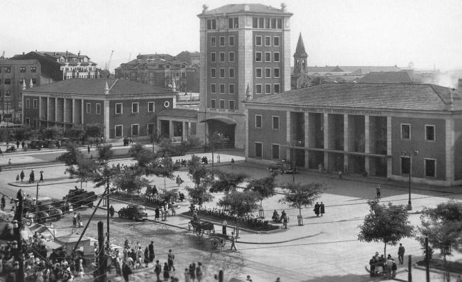 Estación conjunta Santander del Cantábrico, Santander a Bilbao y Renfe, año 1947, fondo MVF