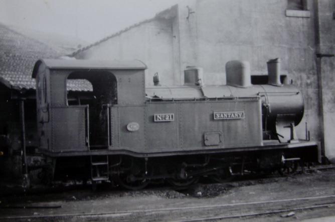 Ferrocarriles de Mallorca, locomotora 21 SANTANY , año 1955, fotografo desconocido