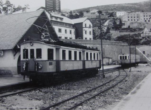 Guadarrama , unidades de tren en puerto de Navacerrada, el 5 de mayo de 1958, fotografo desconocido