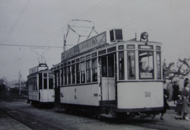 Tranvias de Vigo, coche nº 50 en la linea de Florida, c. 1950, fotografo desconocido