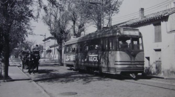 Tranvias de Zaragoza, linea 10 , año 1959, fotografo desconocido