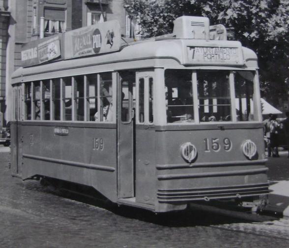 Tranvias de Zaragoza, linea 7 Ayuntamiento Portillo , 19.03.1959, foto Masino