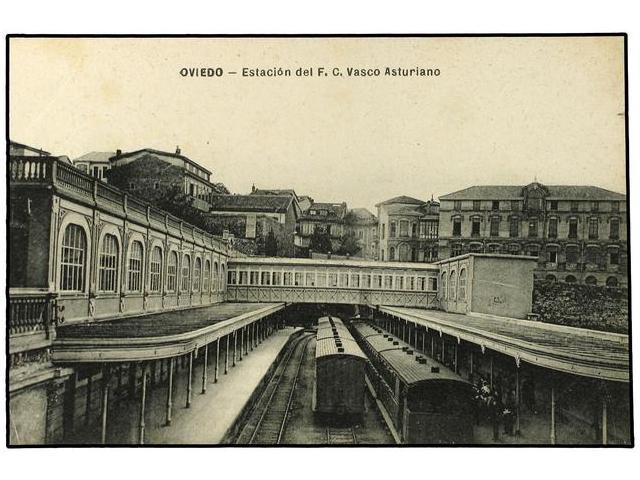 Estacion de Oviedo , Vasco Asturiano , postal comercial