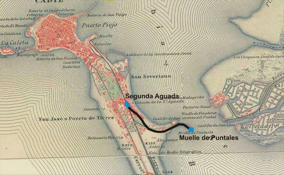 Plano linea de la 2ª aguada al Muelle de Puntales