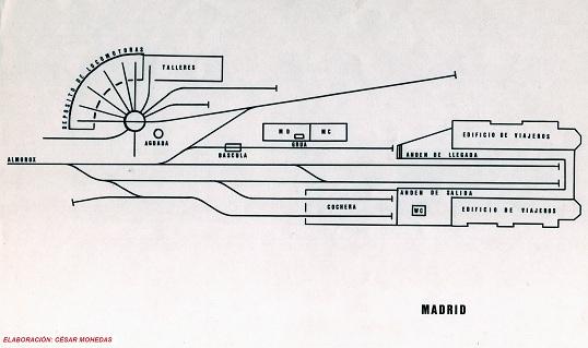 Esquema de vias de la estación de Madrid , año 1930, dibujo de Cesar Mohedas