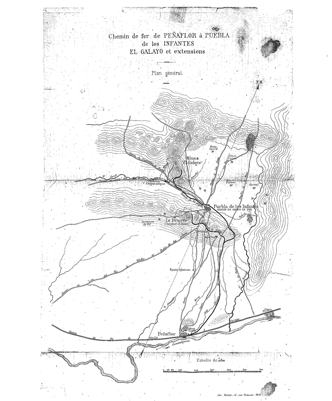 año 1891 proyecto del ferrocarril minero de la PUEBLA de los Infantes a PEÑAFLOR Proyecto