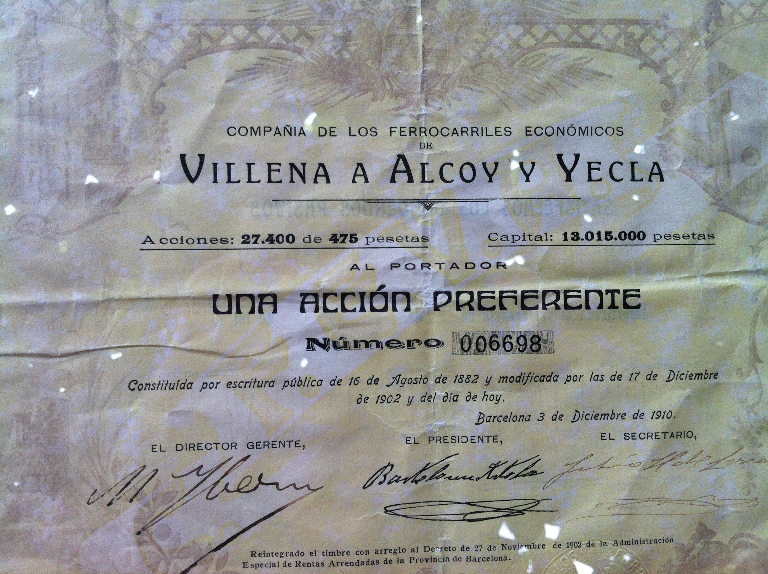 Accion del Villena a Alcoy y Yecla, fondo : Juan Peris Torner