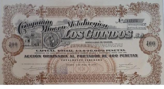 Accion de la Compañá Minero Metlurgica de Los Guindos
