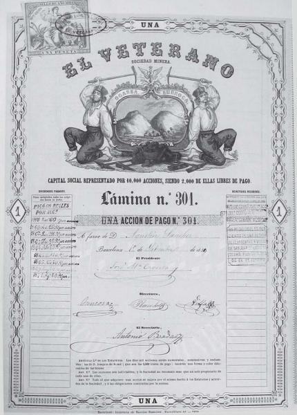 Accion de la sociedad el Veterano, Archivo Municipal de Ogassa