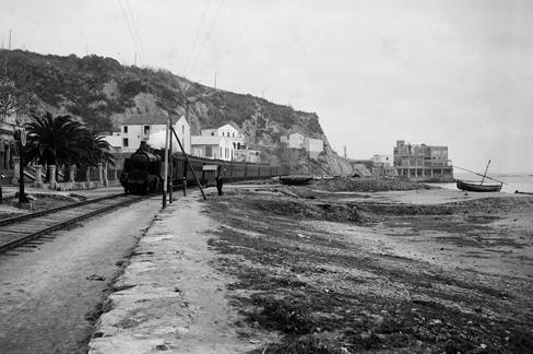 Arenys de Mar, tren con la locomotora MZA 638, Coleccion Roisin IEFC-ACM-9-6049