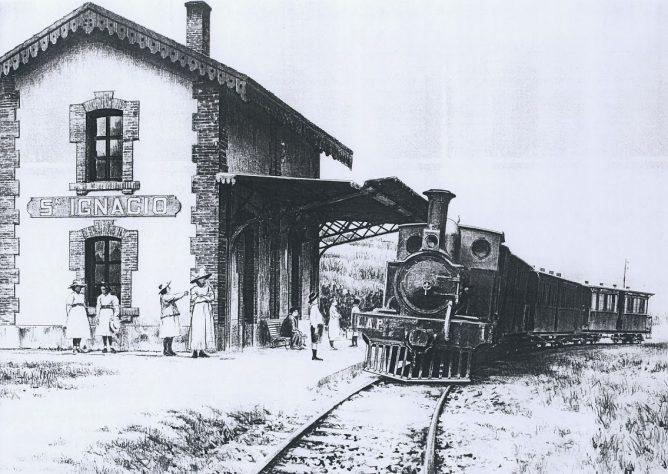 ilbao a Las Arenas y Plencia, Locomotora Plencia, en San Ignacio, dibujo Jose Vicente Coves
