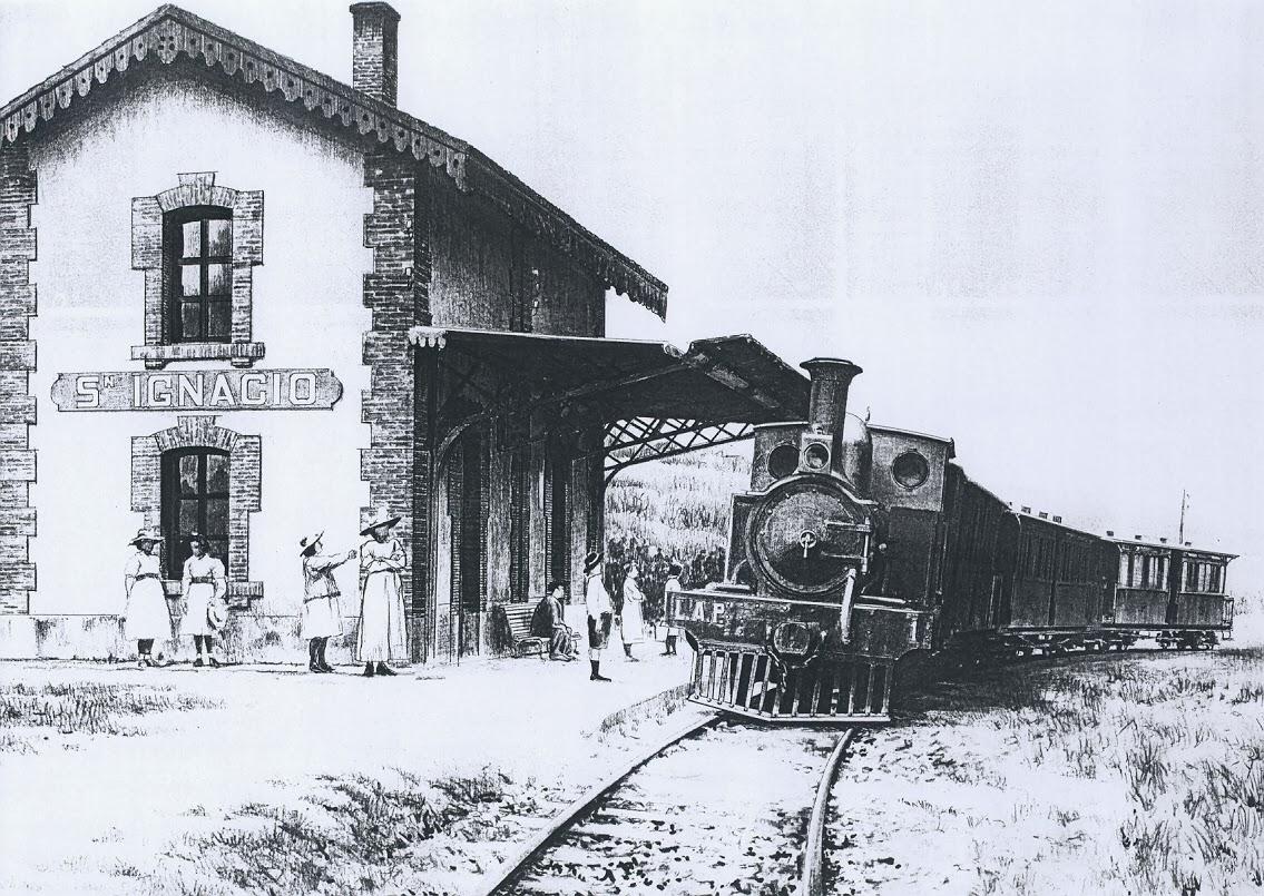 Bilbao a Las Arenas y Plencia, Locomotora Plencia, en San Ignacio, dibujo Jose Vicente Coves