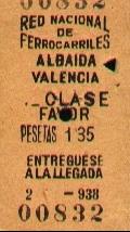 Billete de la RNF republicana, impreso en 1938, para el trayecto de Albaida a Valencia, cedido por Javier Fernández López