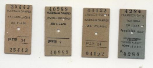 Billetes tipo Edmonson, linea de Zaragoza a Tortosa, colección Juan Manero