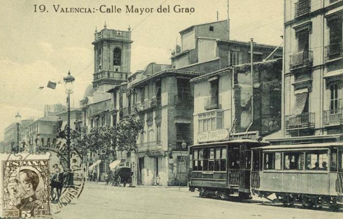 Calle Mayor del Grao, tranvía, fondo Biblioteca Valenciana, postal comercial