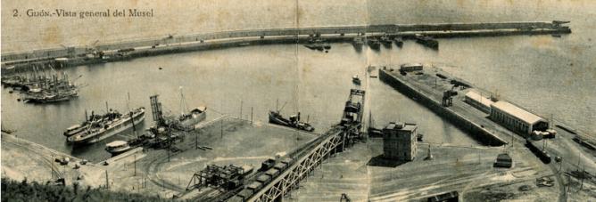 Cargaderos del puerto del Musel, c. 1910. coleccion J.M. Sanchis
