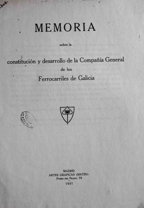 Cia General de FFCC de Galicia, caratula de la memoria
