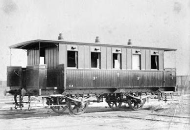 Coche de 3ª clase construido por la Material de Barcelona, c. 1891. Archivo Nacional de Cataluña