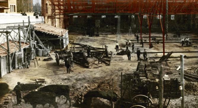 Cocheras de Cuatro Caminos, construcción. Asociacon Madrid Ciudadania y Patrimonio