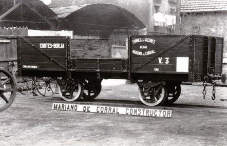 Cortes a Borja, vagon de bordes medios construido por Mariano del Corral, fondo Museo Vasco del Ferrocarril