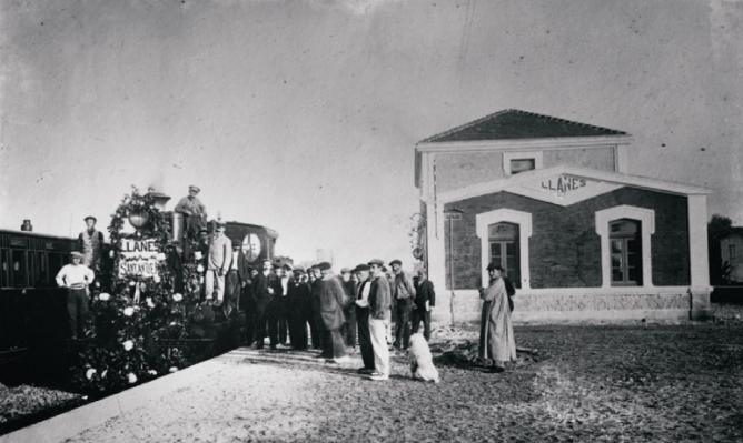 Económicos de Asturias, inauguración de la linea 21 junio 1905 , estación de Llanes, archivo Fernando Suarez Cue