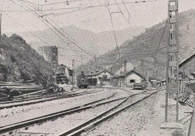 Electrificacion de Pajares, estacion de Puente de los Fierros, año 1924, revista Ingenieria y Construccion