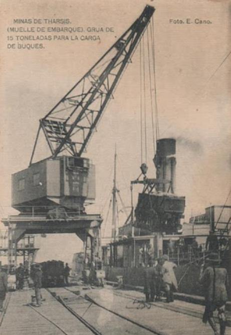 Embarque en las instalaciones de Minas de Tharsis, foto E. Cano , Postal Comercial
