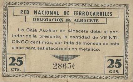 Emision de la Caja Auxiliar de Albacete de vales moneda de la REd Nacional de Ferrocarriles