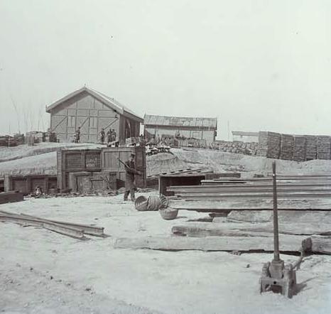 Escuela de Practicas del Batallon de Ferrocarriles, Madrid c.1907, foto. Andrés Ripollés, fondo AHF-RL-4-AF-103.104
