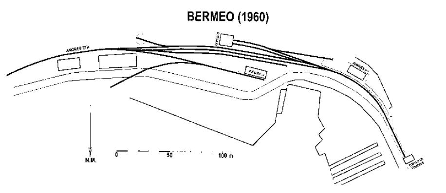 Esquema de la estacion de Bremeo, año 1960, dibujo Pedro Pintado Quintana