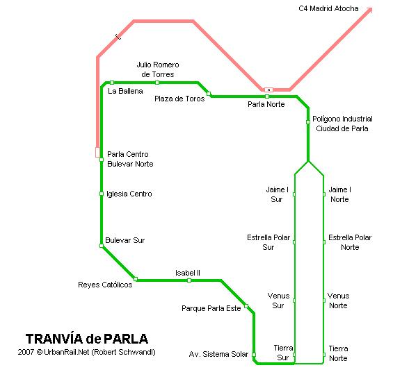 Esquema de la red del tranvía de Parla