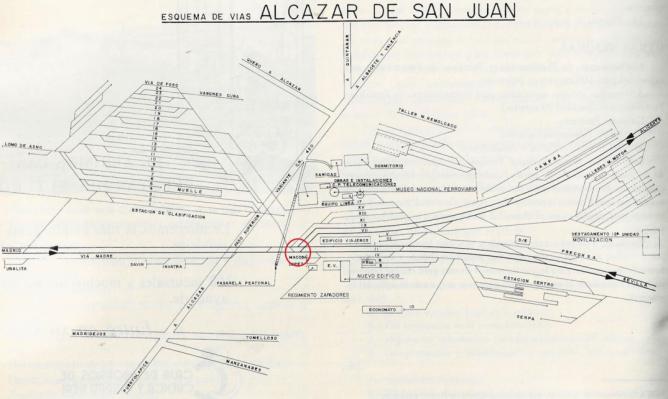 Esquema de vias de la estacion de Alcazar de San Juan , fondo Museo Nacional Ferroviario