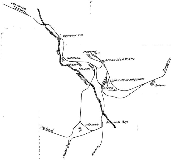 Esquema general de las lineas de Contorno de Madrid, tomadas de la Revista de Obras Publicas, Articulo Fcº Wais