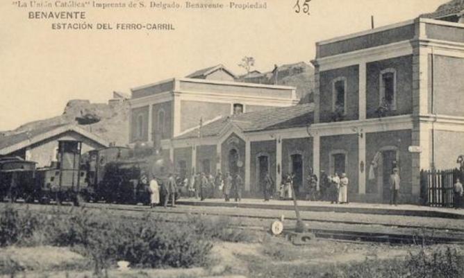Estación de Benavente , postal comercial Imprenta S. Delgado