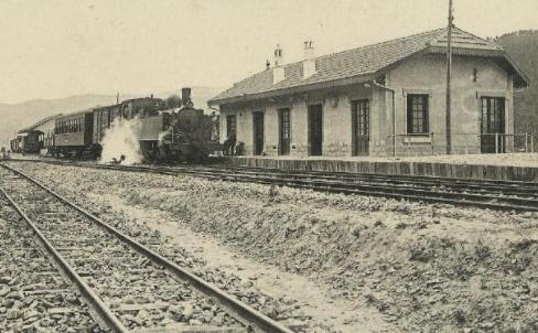 Estación de Suria. Postal Comercial Roisin , Archivo Miguel Diago Arcusa