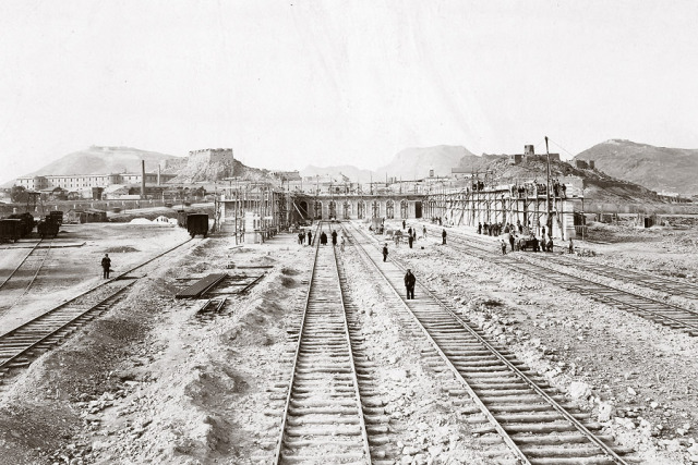 Estacion de Cartagena, construccion 8 de febrero de 1906. Fondo C.A.