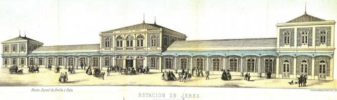 Estación de Jerez, año 1864, publicación del Consejo de Administracion. encargada a Eduardo Antón Rodriguez