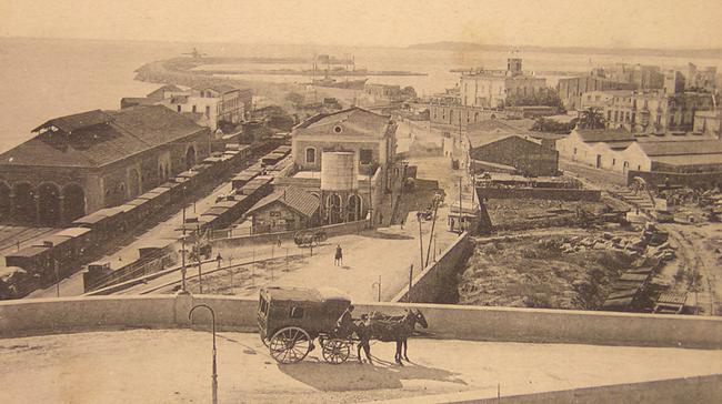 Estación de MZA en Tarragona, postal comercial