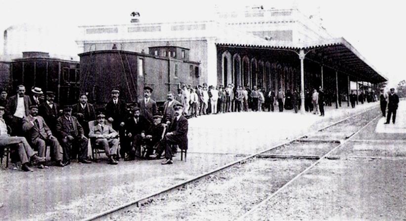 Estacion de Murcia, visita de Alfonso XIII