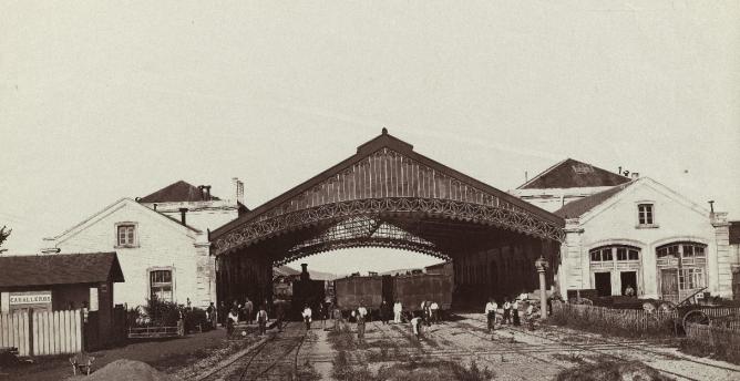 Estacion de Pamplona, año 1867, foto José Martínez Sanchez , fondo BNE