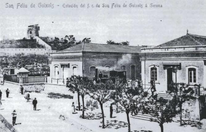 Estacion de Sant Feliu de Guixols, postal comercial , Revista L´Arjau nº 12