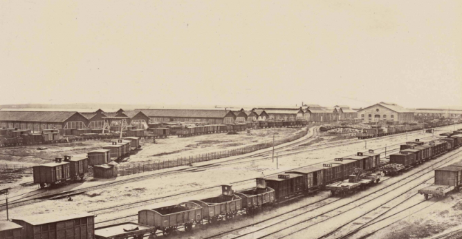 Estación de Valladolid, año 1864, fotografo Auguste Muriet , fondo BNP