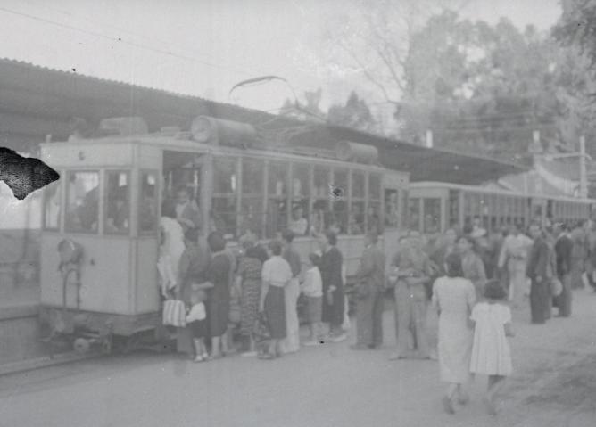 Estacion del Paseo de la Bomba en Granada, año 1943, fotografia Torres Molina