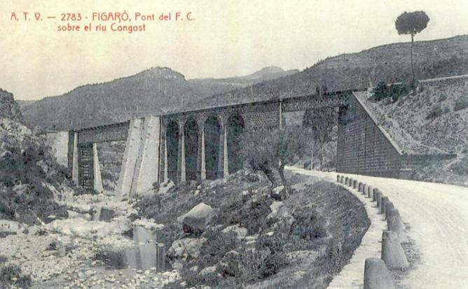 Ferrocarril Transpirenaico , Figaró , puente ferroviario sobre el rio Congost , postal comercial
