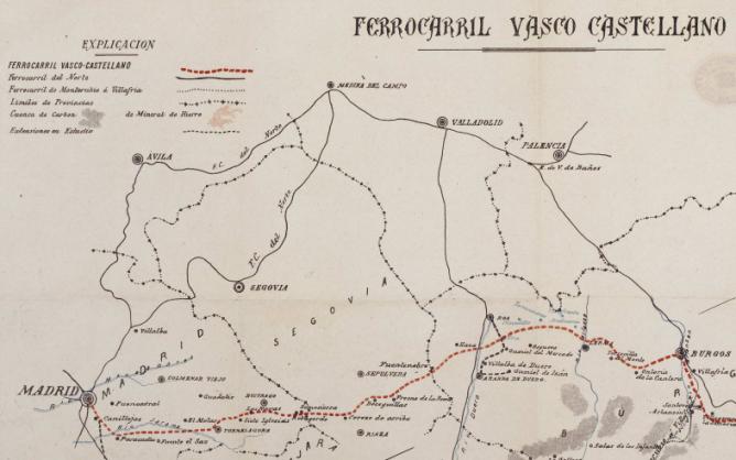 Ferrocarril Vasco Castellano , Madrid a Burgos y Bilbao Plano 1, fondo BNE