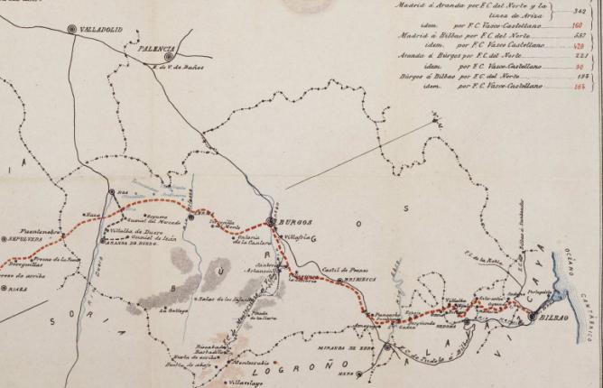 Ferrocarril Vasco Castellano , Madrid a Burgos y Bilbao Plano 2 fondo BNE