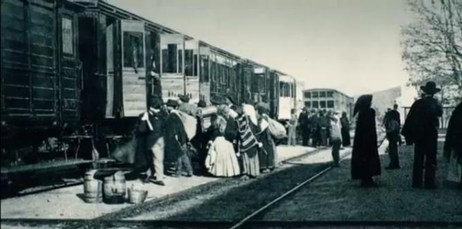 Ferrocarril de Alcantarilla á Lorca, ambiente de estación, fondo Regmurcia