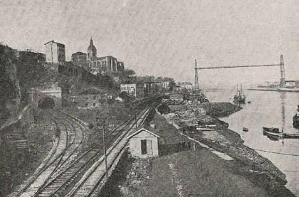 Ferrocarril de Bilbao a Portugalete y ramal al puerto exterior, año 1925, fondo Revista Ingenieria y Construccion