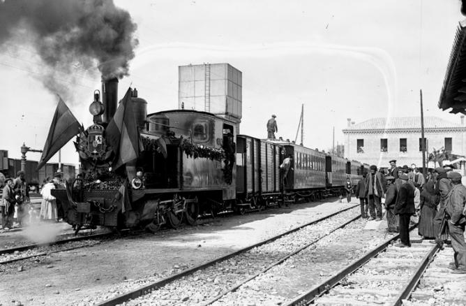 Ferrocarril de Cortes a Borja , inauguración 30 de marzo de 1915, foto Aurelio Glasa