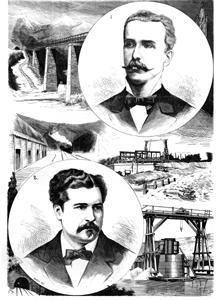 Ferrocarril de Gerona a Francia, el ingeniero jefe M. Aramburu y el ing. Domingo Forné año 1877, xilografia Vela